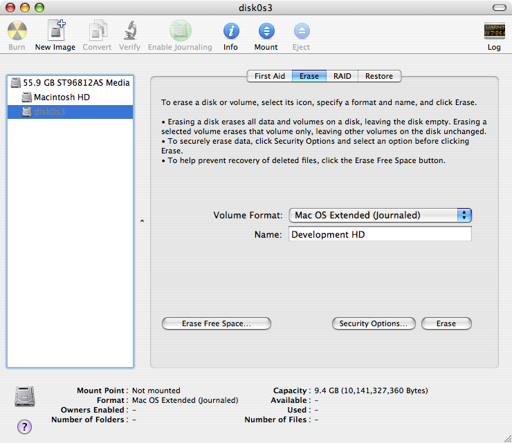 Formatting the new volumes using Disk Utility.
