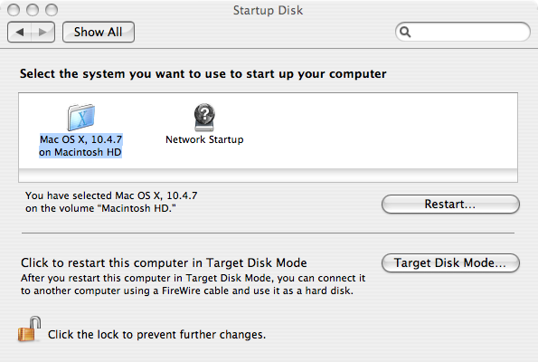 Setting up the Startup Disk in System Preferences.