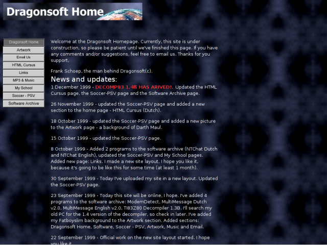 The Forever For Now, or rather Dragonsoft, website in the year 1999.