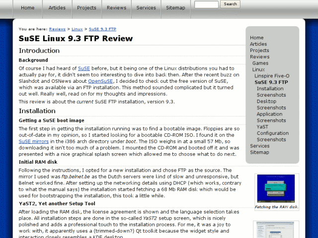 The SuSE 9.3 review on Forever For Now in 2005.