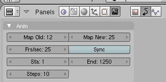 Blender animation frame rate remapping settings in the Animation tab of the Scene settings window.