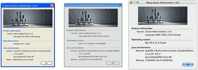 Glacier Administrator running on Windows XP, Gentoo Linux and Mac OS X.