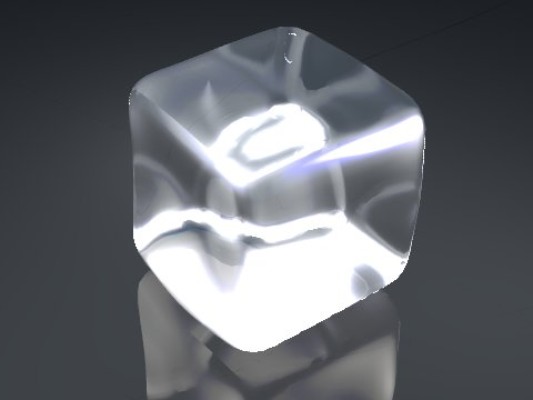 3D model of an ice cube rendered using Bledner