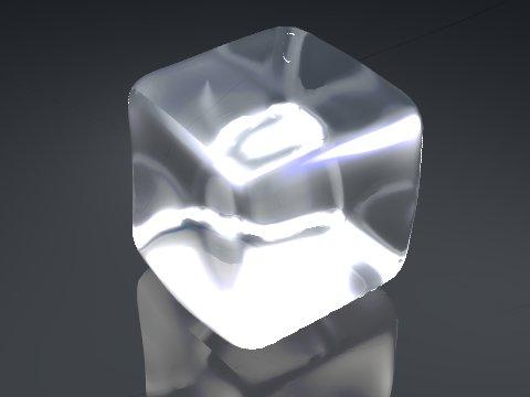 3D model of an ice cube rendered using Bledner