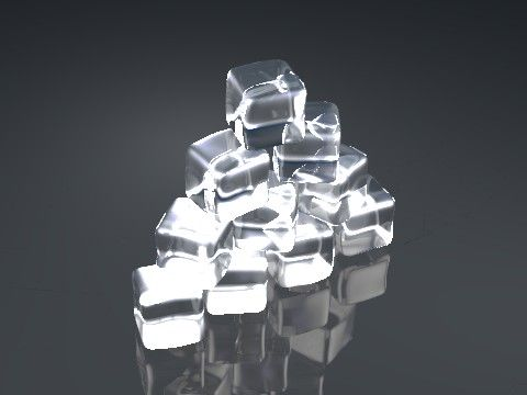 Initial render of an ice cube stack